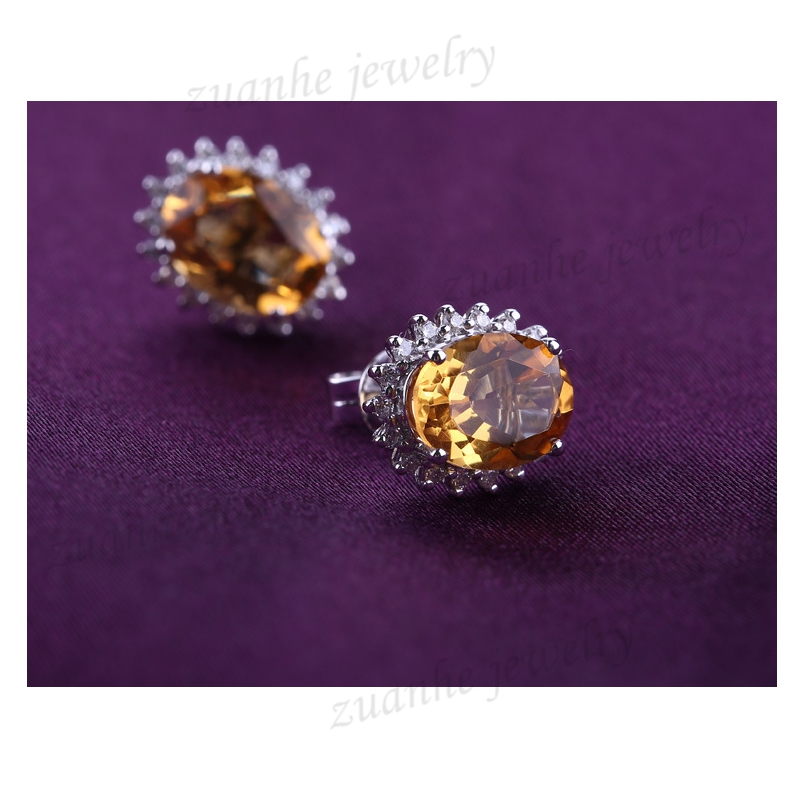 Art Deco Solid 18k White Gold Natural Citrine 5x7mm Diamonds Lady Stud Earrings Valentine's day gifts цена 2017