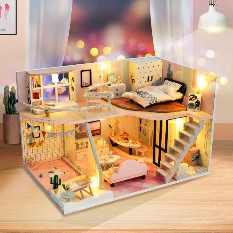 Bricolage maison De poupée meubles rose clair ramasser Miniature maison De poupée jouets pour enfants mignon maison De famille Casinha De Lol maison