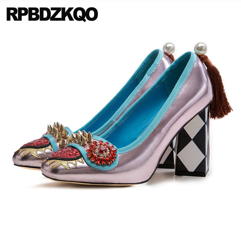 Здесь продается  Rose Gold High Heels Chunky Spike Crystal Silver Rhinestone Pumps Women Fringe Stud Glitter Rivet Pearl Heart Square Toe Shoes  Обувь
