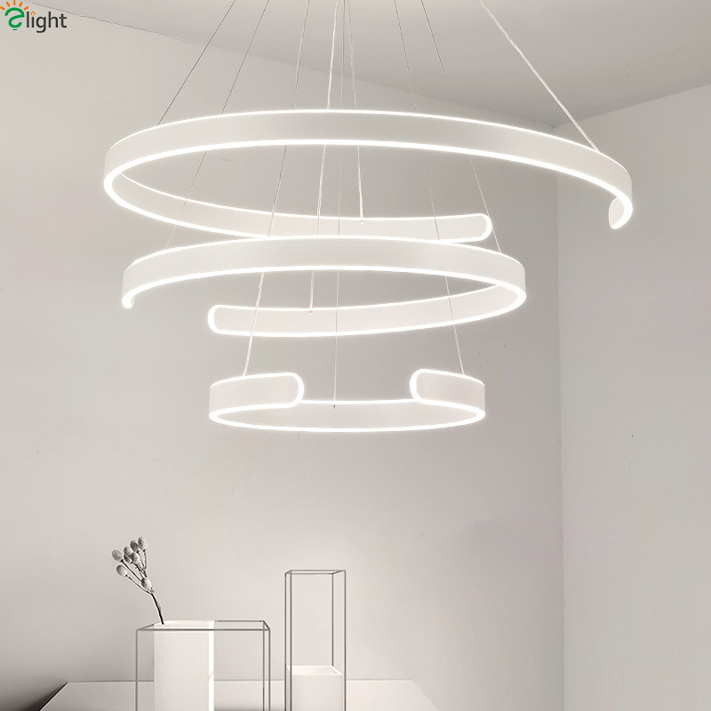 Modern Acrylic Dimmable Led Pendant Lights Aluminum Rings Dining Room Led Pendant Lamp Living Room Led Pendant Light Fixtures lican dining living room modern led pendant light 3 heads aluminum hanging lamps home deco led pendant lamp brightness dimmable