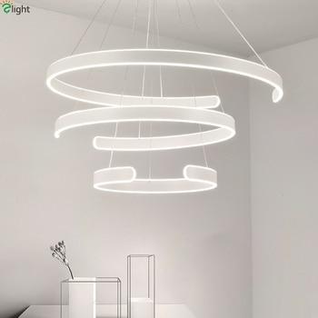Modern Acrylic Dimmable Led Pendant Lights Aluminum Rings Dining Room Led Pendant Lamp Living Room Led Pendant Light Fixtures