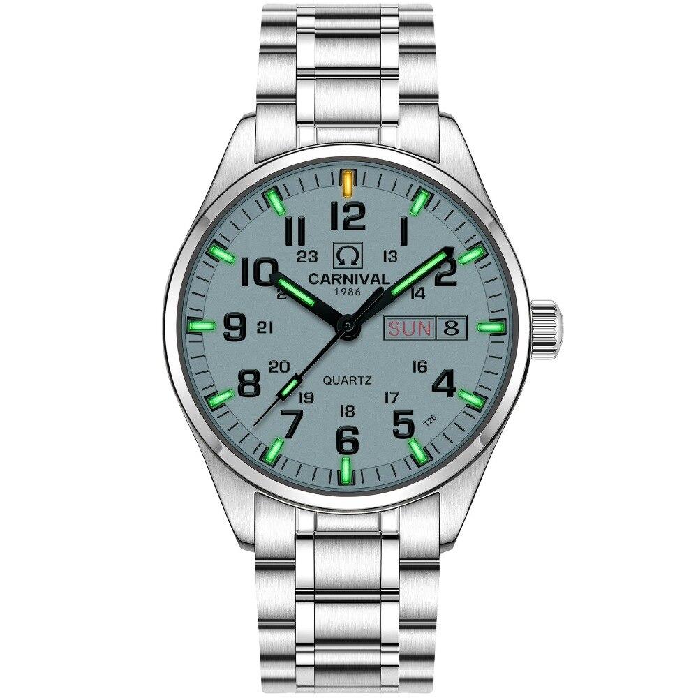 De luxe tritium Lumineux montre hommes Étanche verre Saphir Date Militaire Lumineux Femmes Quartz montres relogio masculin