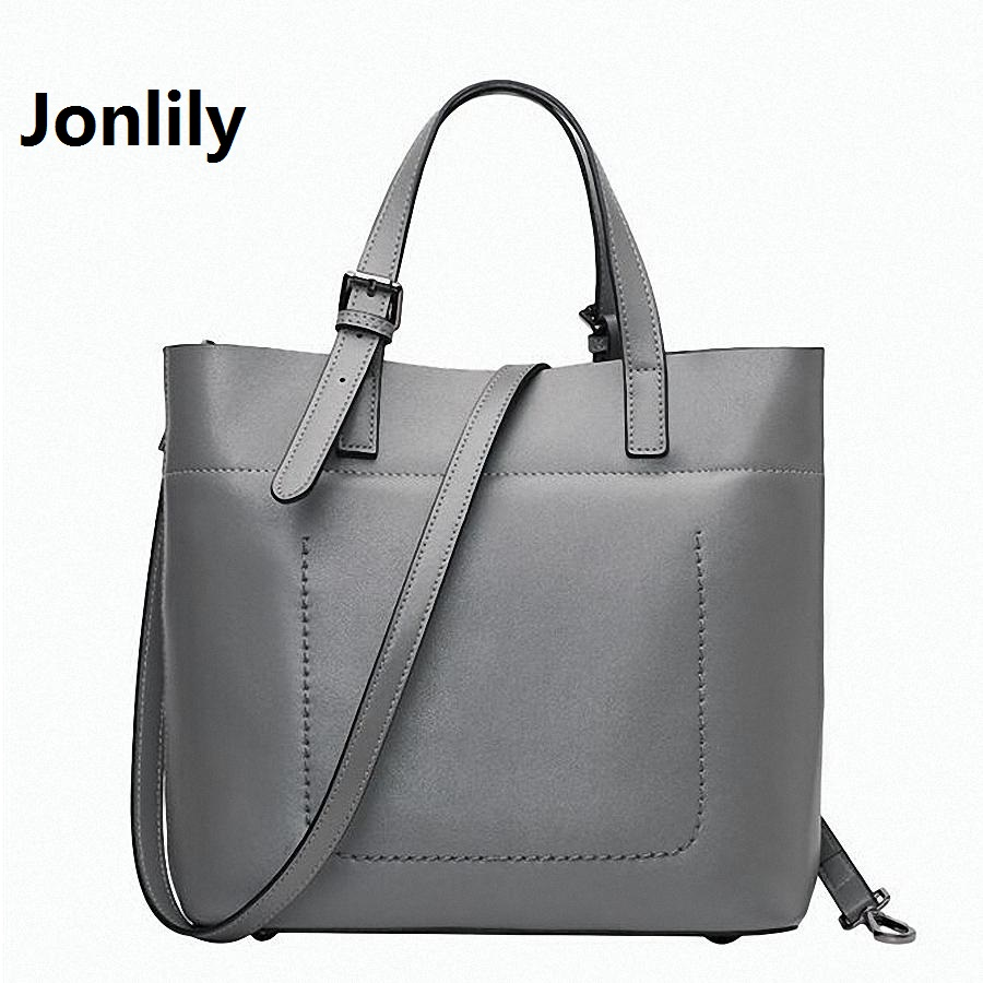 Jonlily OL Tote Bag Luxury Brand 100% genuine Leather Women Handbag Shoulder Bag Famous Designer Crossbody Bags Sac-SLI-153 no 1 new 2015 luxury women handbag genuine leather famous brand handbag ol women s shoulder designer women messenger bags hn07