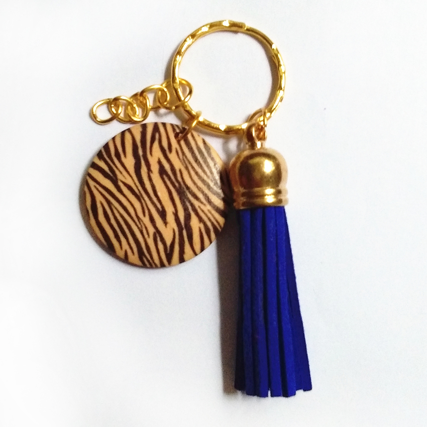 2018 New Style Suede Tassel Key Ring Wood Cake Tassel Key Chain Tassel Keychains Gold Chains Women Bag Charming Pendant image