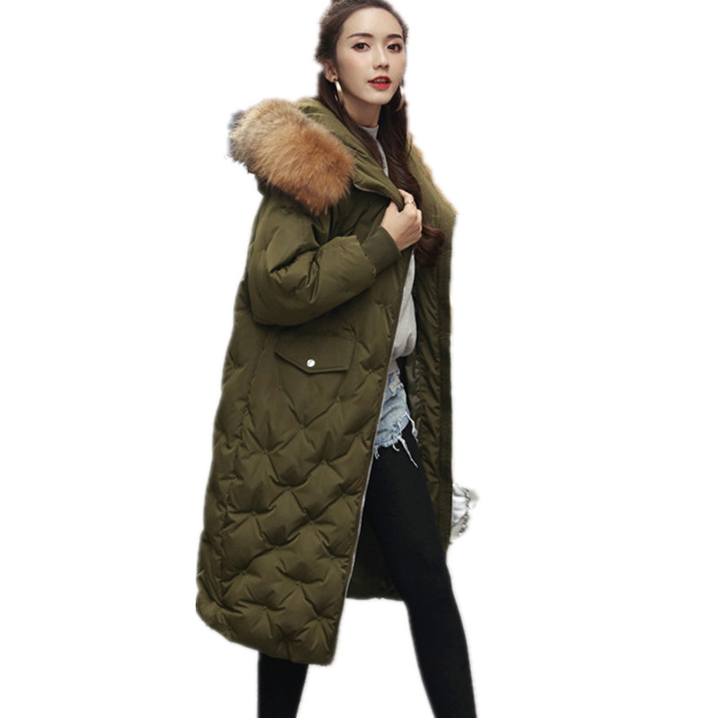 Fashion Loose Large Fur Collar Hooded Oversized Warm Winter Coat Women Warm Parka High Quality Winter Jacket Down Cotton TT3418 winter thicker large fur collar hooded cotton jacket women warmer padded parka high quality wadded ukraine coat chaqueta mujer