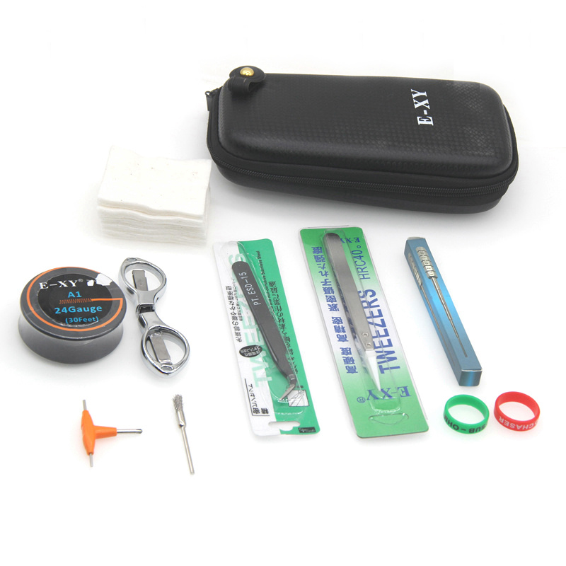 E-XY Electronic Cigarette DIY Tool Kit Coil jig Tweezers Pliers for RDA RDTA RTA E Cig Accessories Vape   Bag Coiling Kit