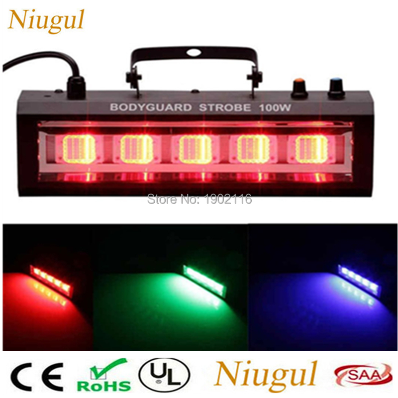 Niugul RGB/White 100W LED Strobe Light For Home Party KTV Room,Sound/Auto Control 100W LED Flash Stage Lighting, LED Stroboscope 100w led strobe lights dmx sound control 100w white lighting disco party dj home music show projector stage light led flash lamp