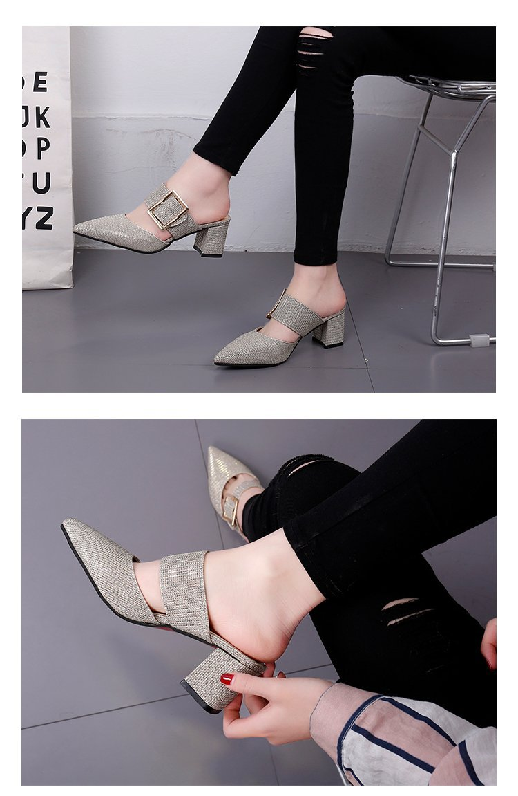 2019spring New Thick with Muller Shoes Women's High Heels Pointed Belt Buckle Back Air Slippers Elegant Temperament Baotou 5