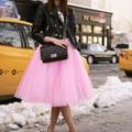 Invierno Tutu Falda Mujeres Niñas Esponjosa Princesa Faldas Plisadas Para Mujer Jupe Femme Rokken Por Encargo 7 Capas de Tul Faldas