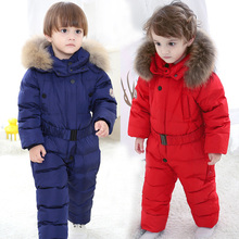 2019 winter Baby Jumpsuits Winter Kids Boys Girl Overalls Rompers Snowsuit White Duck Down Children Jumpsuit Hooeded Rompers цены онлайн