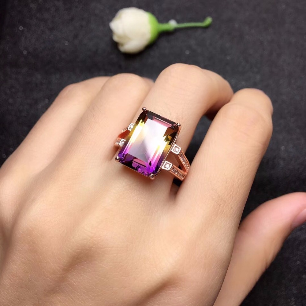 Uloveido Rose Gold 925 Silver Beautiful Natural Amethyst Lady Ring Emerald Cut Gemstone Promise Rings for