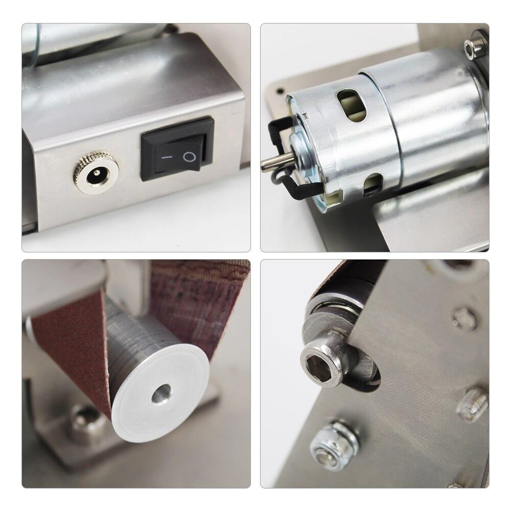 Bricolage électrique mini ponceuse à bande affûteuse à angle fixe Table tranchant Machine meuleuse d'angle à bande ponceuse bois métal travail - 6