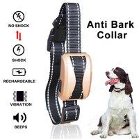 Pet Dog Waterproof Rechargeable Anti Bark Collar Adjustable 7 Sensitivity Levels Vibration Stop Barking Dog Training Collars