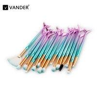 Professional 15pcs Mermaid Makeup Brushes Set Make Up Brush Tools Kit Concealer Cream Eye Liner Shader