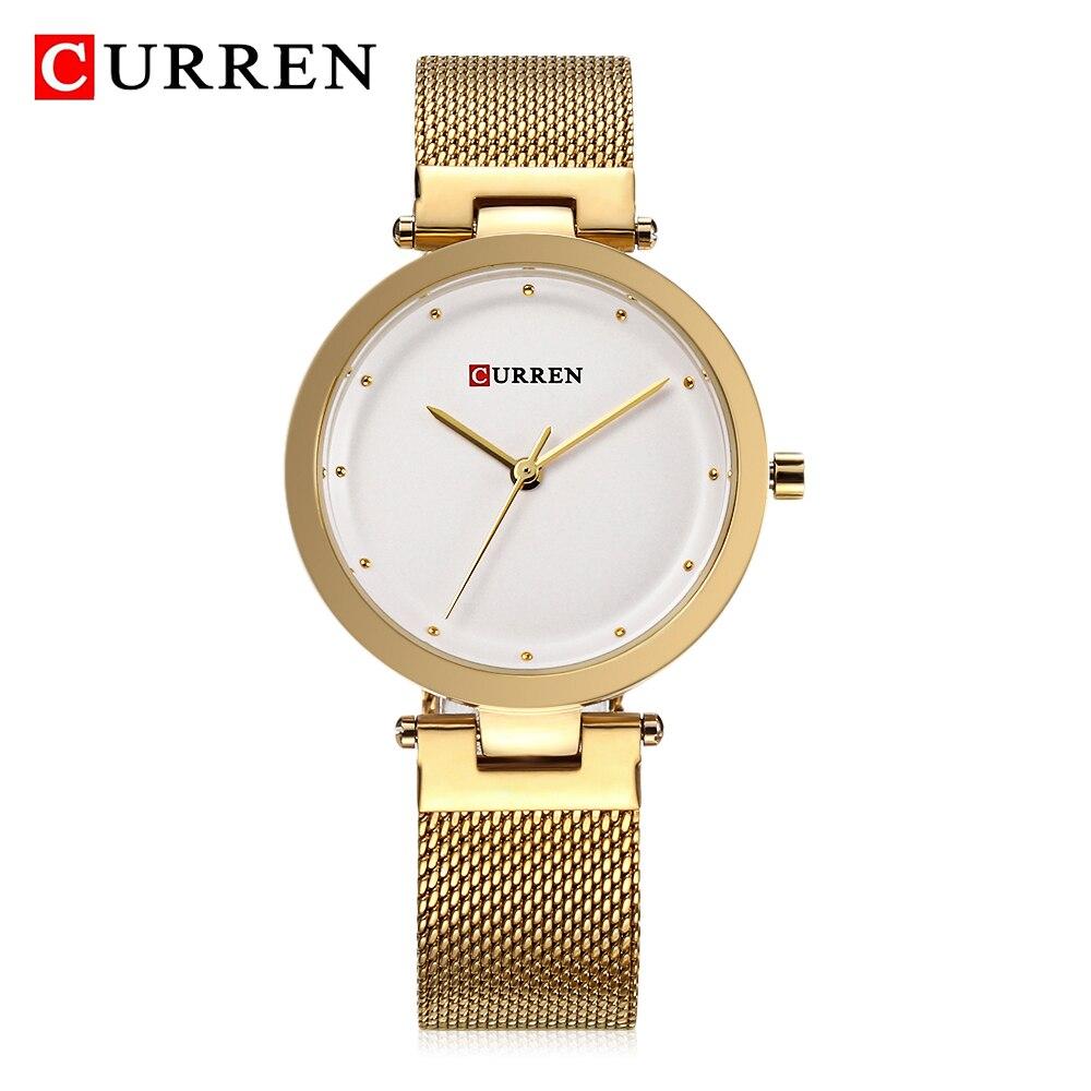 CURREN Gold Uhr Luxus Marke Casual Frauen Uhren Einfache Art Und Weise Kleid frauen Quarz Armbanduhren Liebhaber Geschenk Relogio Feminino