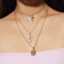 Retro exaggerated personality fashion multi-layer Necklace simple Notre Dame Cross Pendant