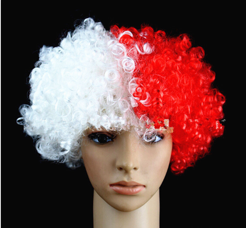 Football Fan Wigs Free Shipping 5pcs/lot synthetic perucas party wigs ,Poland national flag wigs,halloween cosplay/bob wigs