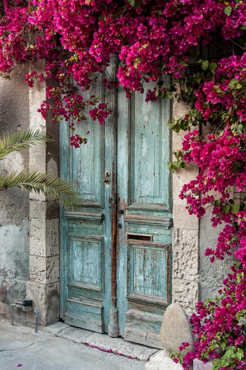 5x7ft Antico Porta E Rosa Intenso Fiore Foto Stampata In Studio