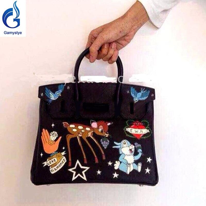 25cm Black Women Handbags Luxury Shoulder Bags Real Genuine Leather Top Handle Bags Hand Printed Cartoon Customize Bags 2018 Y stylish bare shoulder printed women s chiffon top