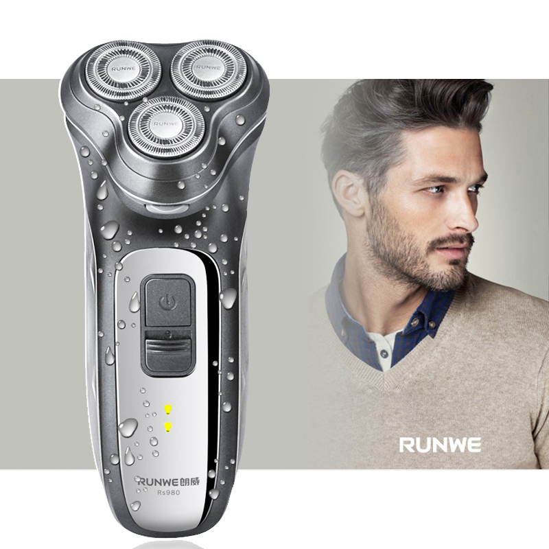 RUNWE RS980 Rechargeable Electric Shaver 3D Triple Floating Blade Heads Shaving Razors Face Care Men Beard Trimmer Machine rechargeable electric shaver 3d triple floating blade heads shaving razors face care men beard trimmer machine