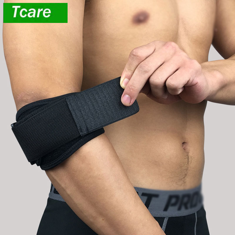 Tcare 1Pcs Tendonitis Golf & Tennis Elbow Brace: Adjustable Forearm Compression Support Pad & Sweatband - Relieves Pain