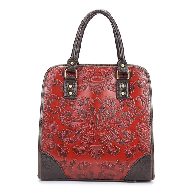 Famous Brand Ladies Handbags Genuine Leather Women Bag Casual Tote Floral Print Shoulder Bags 2017 Sac New Luxury Large Tote Bag