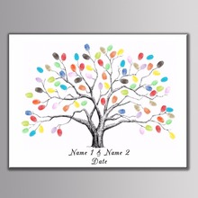 Custom Tree Name Date Canvas Print Fingerprint Guestbook Personalized DIY Guest Book for Engagement Party Wedding Shower Inkpad wedding balloon canvas print diy fingerprint signature guestbook for wedding bride groom custom name date party decor