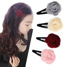 M MISM New Winter Kintted Woolen Flower Hair Clips Korean Style Cute Knitting Floral Rose Headwear Hairpins Girls Barrettes(China)