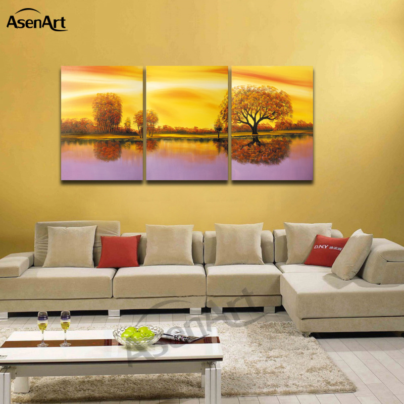 Oil Painting Canvas Prints Wall Art Autumn Tree Painting 3 Panel ...