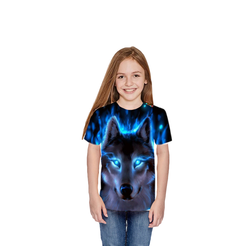 T-Shirt Kids Teens Girls Tops Short-Sleeve Print Boys Children Summer Cool Big 3D Wolf