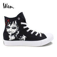 Wen Hand Painted Single Shoes Design Naruto Shippuuden Gaara High Top Classic Black Anime Canvas Sneakers