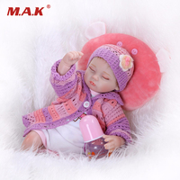40CM Long Reborn Baby Dolls Full Body Silicone Bebe Children Gifts Brinquedos with Knitted Clothes