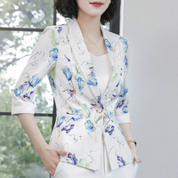 Ink Floral Print Blazer Jacket Women Small Suit 2019 Spring Non Iron Leisure Suit Women OL Slim Top