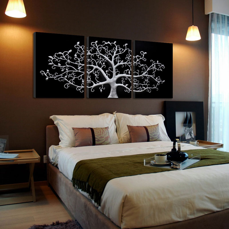 3 piece Wall Abstract Metal Wall Art Tree Canvas Print Tree landscape paintings 3 panels wall pictures for living room no frame