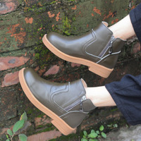 Careaymade Hot The spring and autumn new hand head layer cowhide boots leisure short Mori art flat Martin shoes 3019 2
