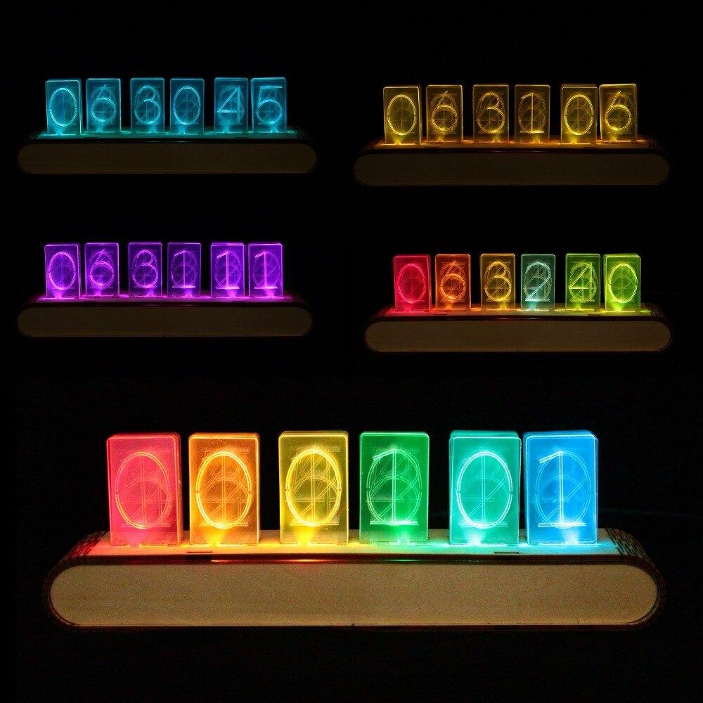 6 pouco Brilho LED Relógio Digital Relógio Tubo Nixie Eletrônica DIY Kit Relógio De Mesa Retro 5 V Micro USB Alimentado