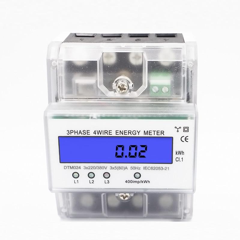 Mètre triphasé de mètre d'énergie de mètre d'énergie de mètre d'eau de Rail de 3 * AC220V/380 V 50Hz/60Hz Din