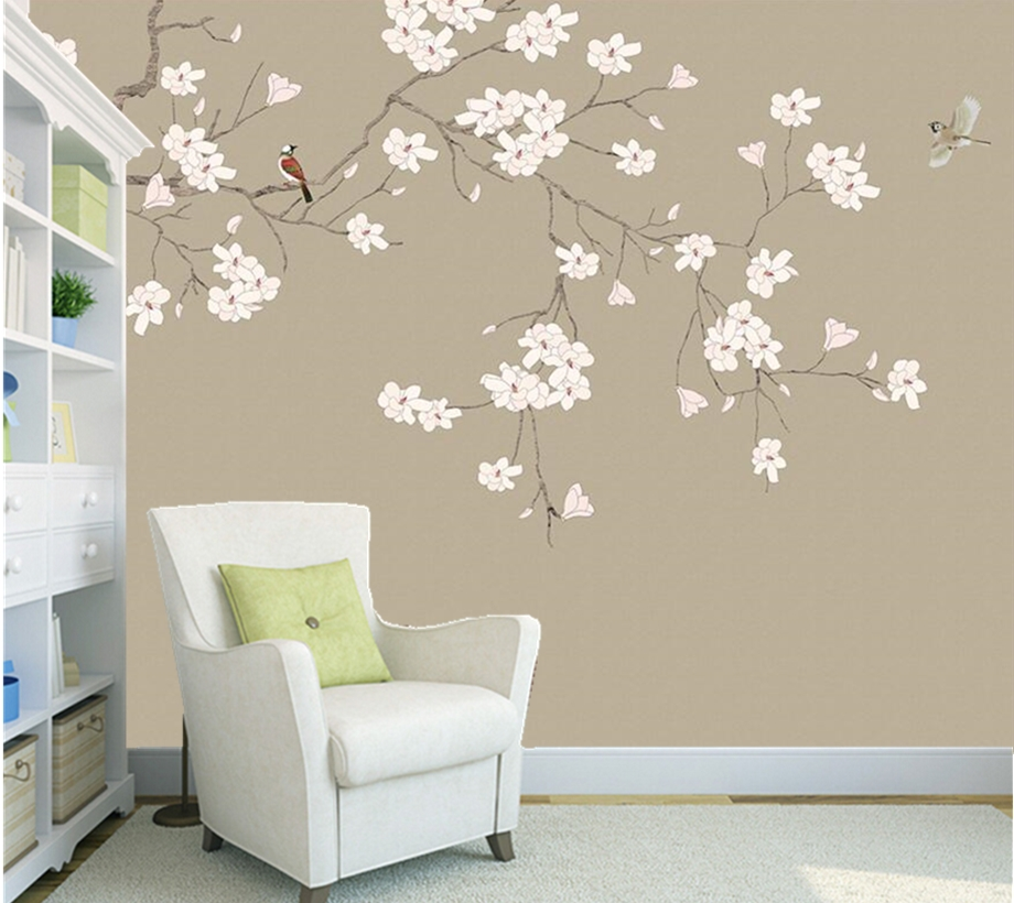 Exceptionnel Wall Papers Home Decor,Magnolia Flower Chinese Style Flower And Bird  Wallpaper,living Room Tv Sofa Wall Bedroom Mural Wallpaper In Wallpapers  From Home ...