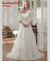 Vintage Modest Chiffon Long Sleeves Lace A Line Wedding Dresses Wedding Gowns 2016 Bride Dress Robe