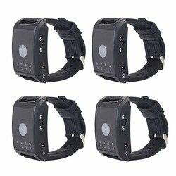 4 piezas llamada de enfermera del Hospital receptor 4 canal 433 Mhz buscapersonas inalámbrico botón de llamada de emergencia para el paciente de edad avanzada servicio