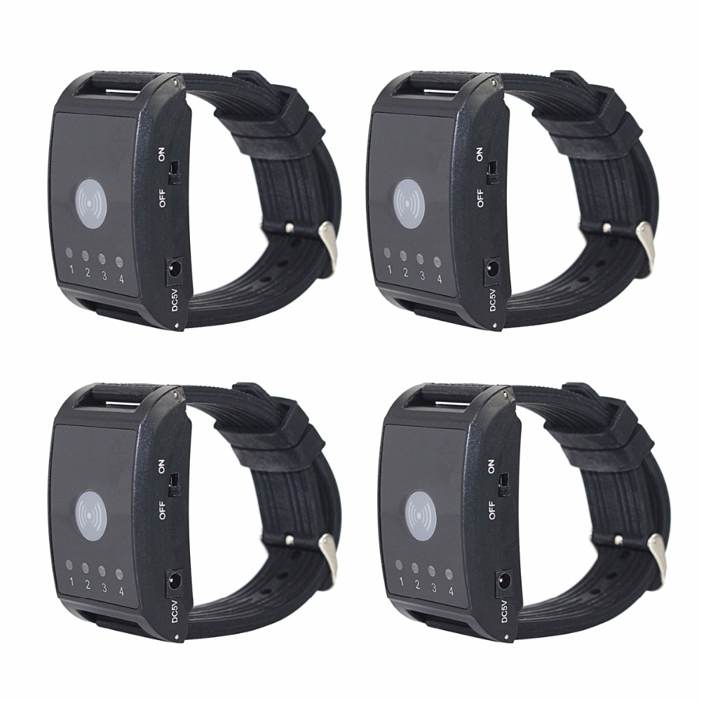4Pcs 433MHz 4 Channel Wireless Watch Calling Receiver Call Pager System for Hospital Waiter Nurse F4411A 433 92mhz wireless restaurant guest service calling system 5pcs call button 1 watch receiver waiter pager f3229a