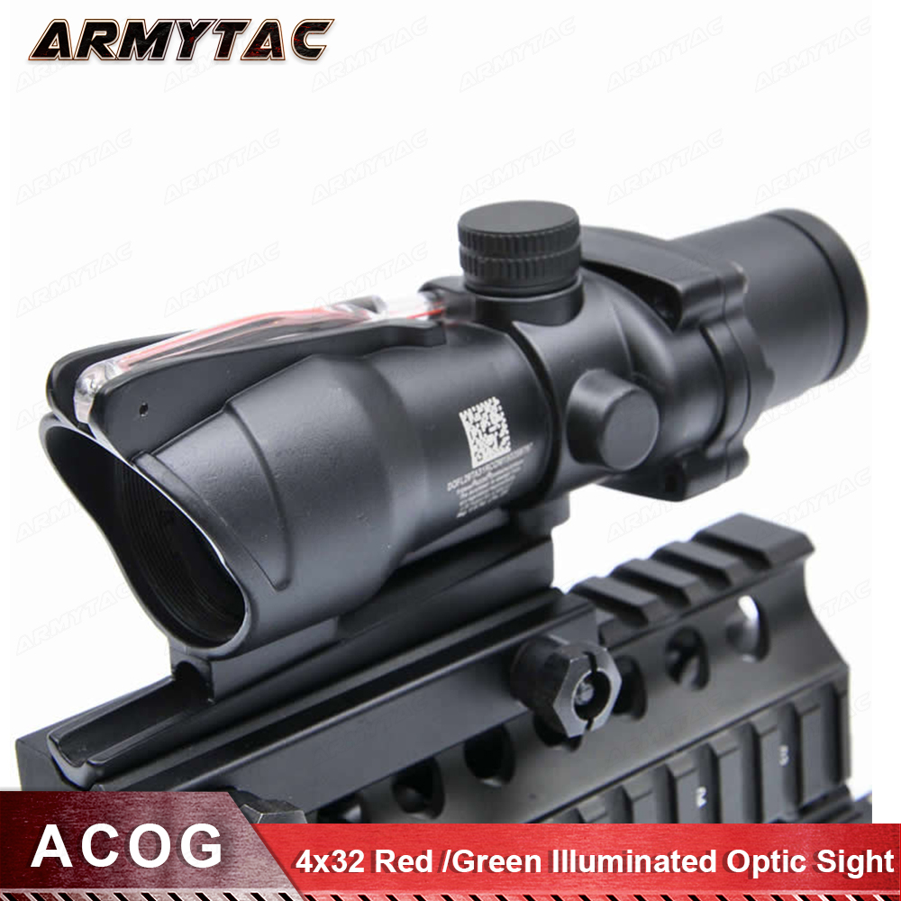 Hunting Riflescope ACOG 4X32 Real Fiber Optics Red / Green Illuminated Chevron Glass Etched Reticle Tactical Optical Sight 4x32 hunting real optical fiber scope red green glass etched bdc or chevron reticle sights
