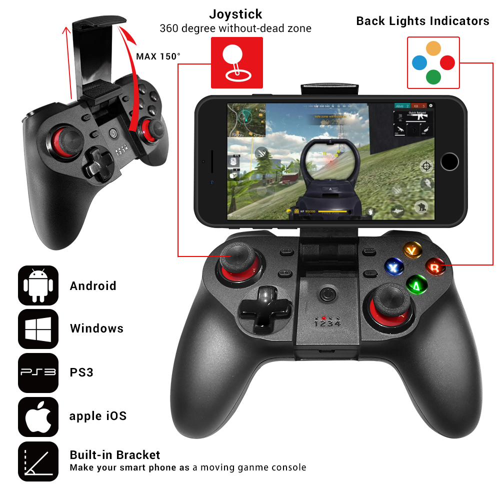 Game Pad Android Joystick Bluetooth Controller Selfie Remote Control Shutter Gamepad For PC Smart Phone + Holder