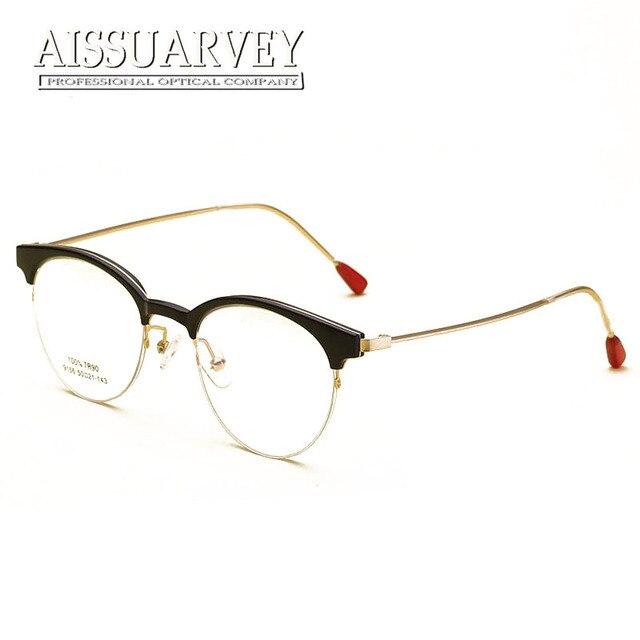 b2d61c587d Vintage Eyeglasses Women Optical Eye Glasses Frame Prescription Round Metal  Clear Red Tortoise Black Eyewear Goggles Girl New