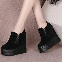 Купить с кэшбэком NAYIDUYUN    2019 Oxfords Shoes Women Genuine Leather Round Toe Wedges Riding Boots High Heel Platform Pumps Shoes Punk Sneakers