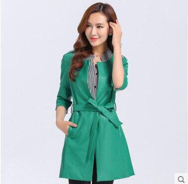 Длинная кожаная куртка женская мода Осень Зима Натуральная& Искусственная Jaqueta de couro feminina jaqueta couro мотоциклетное пальто A0317 - Цвет: green