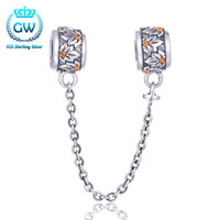 Flower Safety Chain Beads Pave Australian Crystal Jewelry 925 Silver Chain Mens Silver Bracelet Brand GW A016