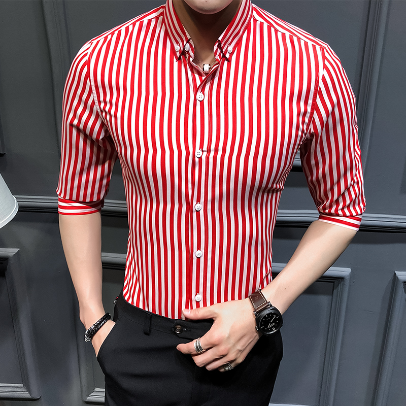 2019 Spring And Summer Seven-sleeved Shirt Fashion Personality Striped Slim Shirt Large Size Men's Business Banquet Casual Shirt