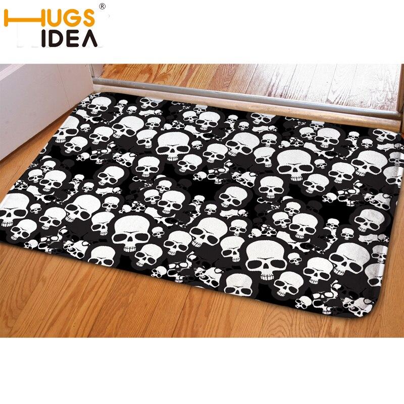 Skull Area Rugs: HUGSIDEA White/ Black Skull Printed Floor Mat Carpet 59