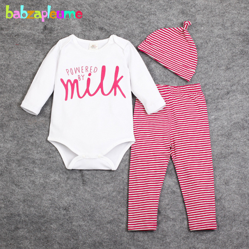 3Piece 0 18Months Spring Autumn Newborn Baby Clothes Cartoon Rompers Bodysuits Pants Hats Infant Boys Girls
